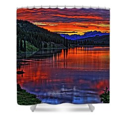 Shower Curtain featuring the photograph Fiery Lake by Scott Mahon