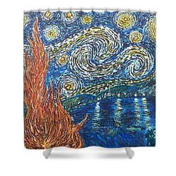 Shower Curtain featuring the painting Fiery Night by Amelie Simmons