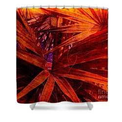 Fiery Palm Shower Curtain by Susanne Van Hulst