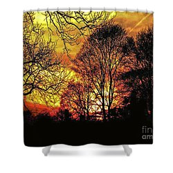 Fiery Red Sunset Shower Curtain by Carol F Austin