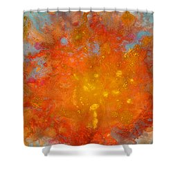 Fiery Sunset Abstract Painting Shower Curtain
