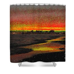 Shower Curtain featuring the digital art Fiery Sunset by Mariola Bitner