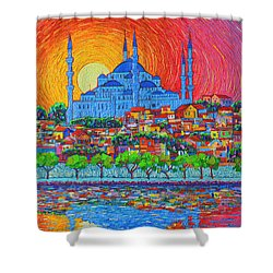 Fiery Sunset Over Blue Mosque Hagia Sophia In Istanbul Turkey Shower Curtain