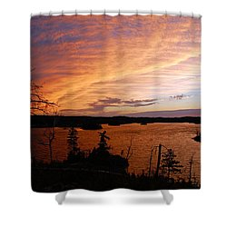Fiery Sunset Over Seagull Lake Shower Curtain by Larry Ricker