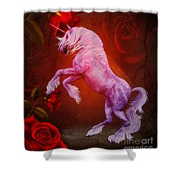 Fiery Unicorn Fantasy Shower Curtain by Smilin Eyes  Treasures