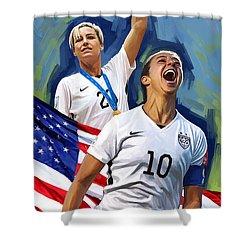 Shower Curtain featuring the painting Fifa World Cup U.s Women Soccer Carli Lloyd Abby Wambach Artwork by Sheraz A