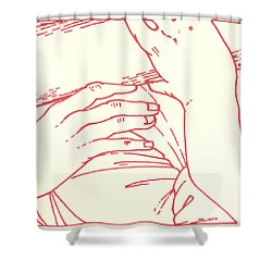 Shower Curtain featuring the drawing Fifth Station- Simon Of Cyrene Helps Jesus To Carry His Cross  by William Hart McNichols