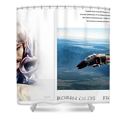 Robin Olds Fighter Pilot Shower Curtain