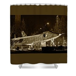 Fighter Plane By Night Shower Curtain