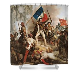 Fighting At The Hotel De Ville Shower Curtain by Jean Victor Schnetz