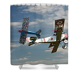 Fighting Colours 2 - Fokker D. Vll - Nieuport Shower Curtain by Pat Speirs