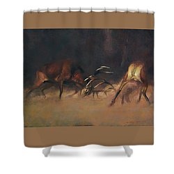 Fighting Stags I. Shower Curtain