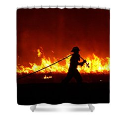 Fighting The Fire Shower Curtain by Linda Unger