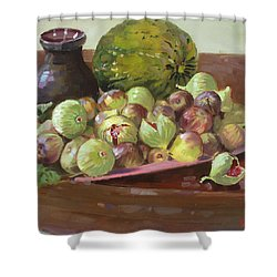 Figs And Cantaloupe Shower Curtain by Ylli Haruni