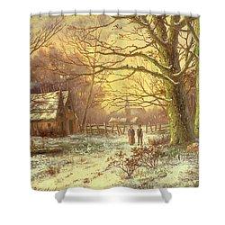 Figures On A Path Before A Village In Winter Shower Curtain by Johannes Hermann Barend Koekkoek