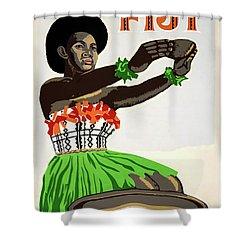 Fiji Restored Vintage Travel Poster Shower Curtain