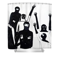 Shower Curtain featuring the drawing Final Call by Lyric Lucas