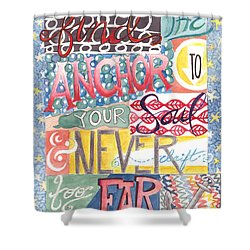 Shower Curtain featuring the painting Find Your Anchor by Erin Fickert-Rowland