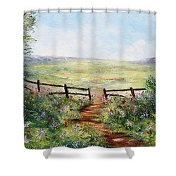 Finding Pasture Shower Curtain by Meaghan Troup