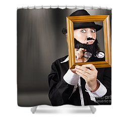 Fine Art Buyer Studying Picture In Modern Gallery Shower Curtain by Jorgo Photography - Wall Art Gallery