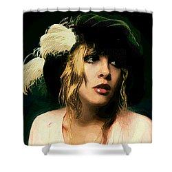 Fine Art Digital Portrait Stevie Nicks Wearing Beret Shower Curtain