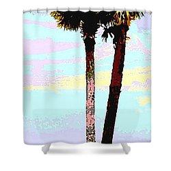 Fine Art Palm Trees Gulf Coast Florida Original Digital Painting Shower Curtain
