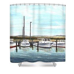 Fine Art Workboats Kent Island Chesapeak Maryland Original Oil Painting Shower Curtain