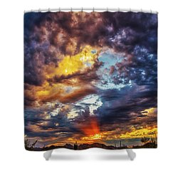 Shower Curtain featuring the photograph Finger Painted Sunset by Rick Furmanek