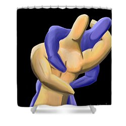 Fingermen Wrestling Shower Curtain