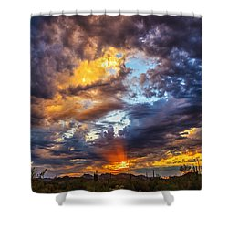Finger Painted Sunset Shower Curtain by Rick Furmanek