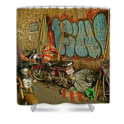 Fink Color Graffiti Shower Curtain by Arik S Mintorogo