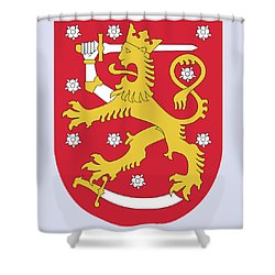 Finland Coat Of Arms Shower Curtain by Movie Poster Prints
