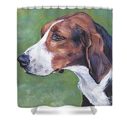 Shower Curtain featuring the painting Finnish Hound by Lee Ann Shepard