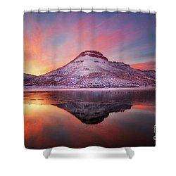Fire And Ice - Flatiron Reservoir, Loveland Colorado Shower Curtain by Ronda Kimbrow