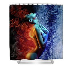 Fire And Ice Shower Curtain by Lilia D