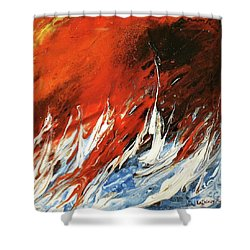 Shower Curtain featuring the mixed media Fire And Lava by Kathleen Pio