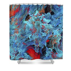 Shower Curtain featuring the digital art Fire And Water Abstract by Andee Design