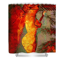Fire Angel Shower Curtain by Andrea Barbieri