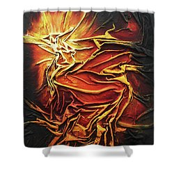 Shower Curtain featuring the mixed media Fire by Angela Stout