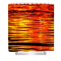 Fire At Night On The Water Shower Curtain
