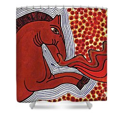 Fire Breathing Horse Shower Curtain by Sarah Loft