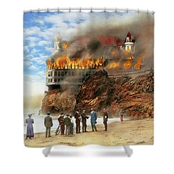 Shower Curtain featuring the photograph Fire - Cliffside Fire 1907 by Mike Savad