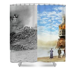 Shower Curtain featuring the photograph Fire - Cliffside Fire 1907 - Side By Side by Mike Savad