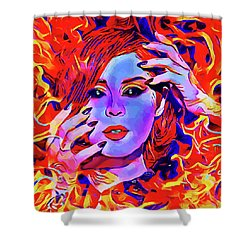 Fire Demon Woman Abstract Fantasy Dark Goth Art Shower Curtain