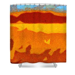 Fire Hill Shower Curtain by Spyder Webb