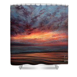 Fire In The Sky Shower Curtain by Valerie Travers