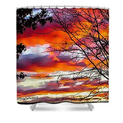 Fire Inthe Sky Shower Curtain by MaryLee Parker