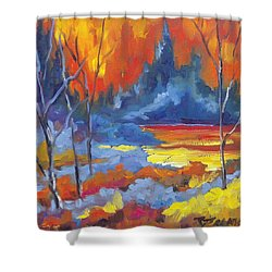 Fire Lake Shower Curtain by Richard T Pranke