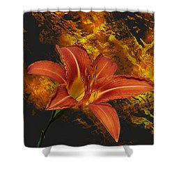 Fire Lilly Shower Curtain by Rick Friedle