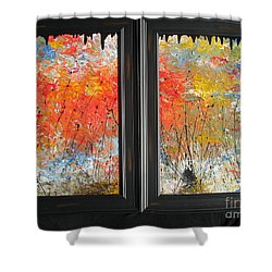 Shower Curtain featuring the painting Fire On The Prairie by Jacqueline Athmann